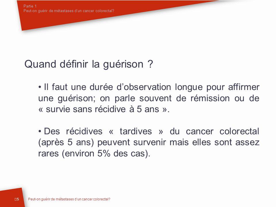 Partie 1 Peut-on guérir de métastases d'un cancer colorectal