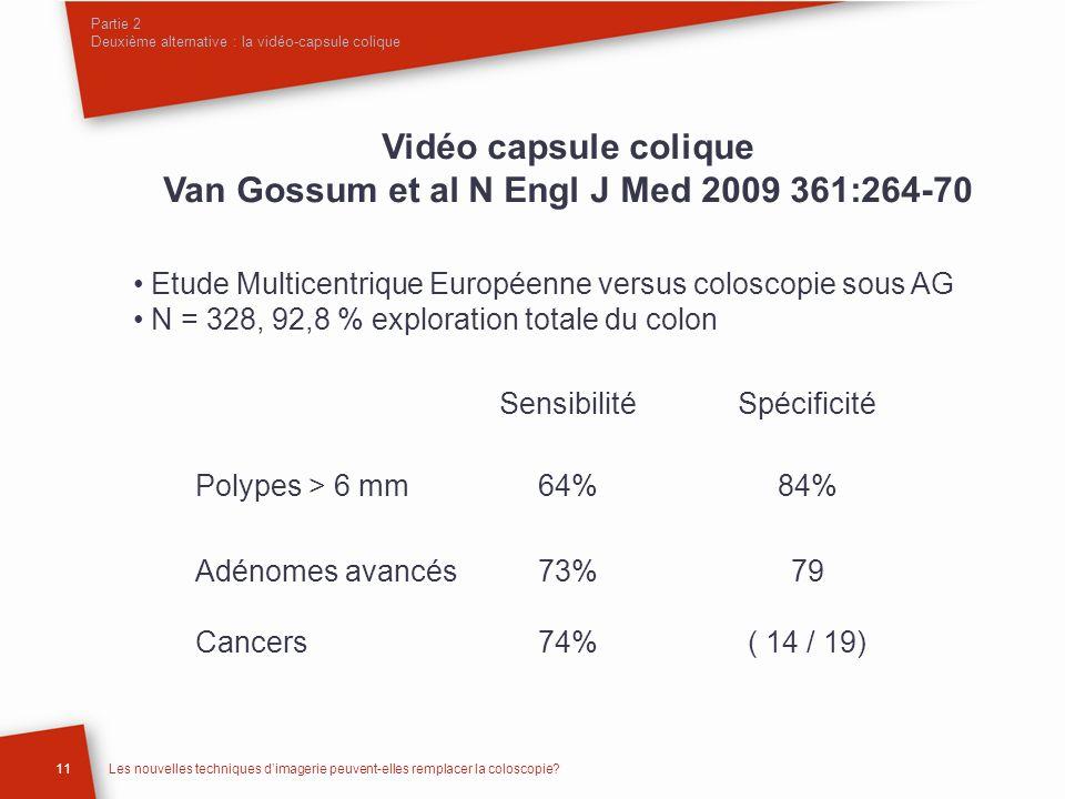 Vidéo capsule colique Van Gossum et al N Engl J Med 2009 361:264-70