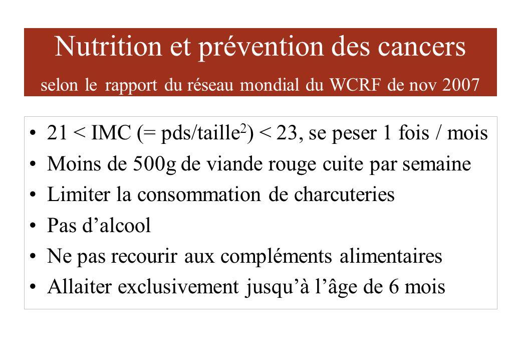Nutrition et prévention des cancers selon le rapport du réseau mondial du WCRF de nov 2007