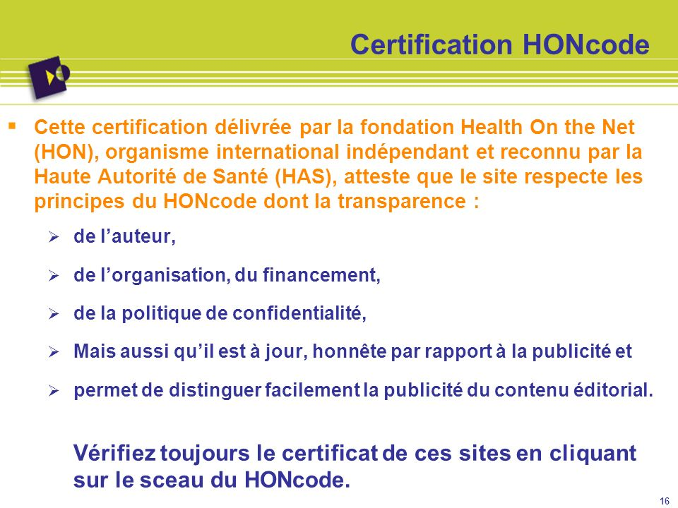 Certification HONcode