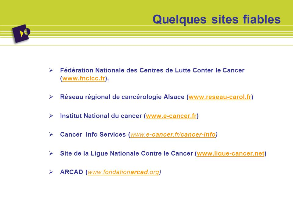 Quelques sites fiables