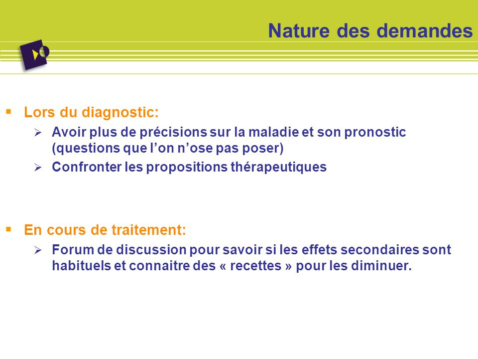 Nature des demandes Lors du diagnostic: En cours de traitement: