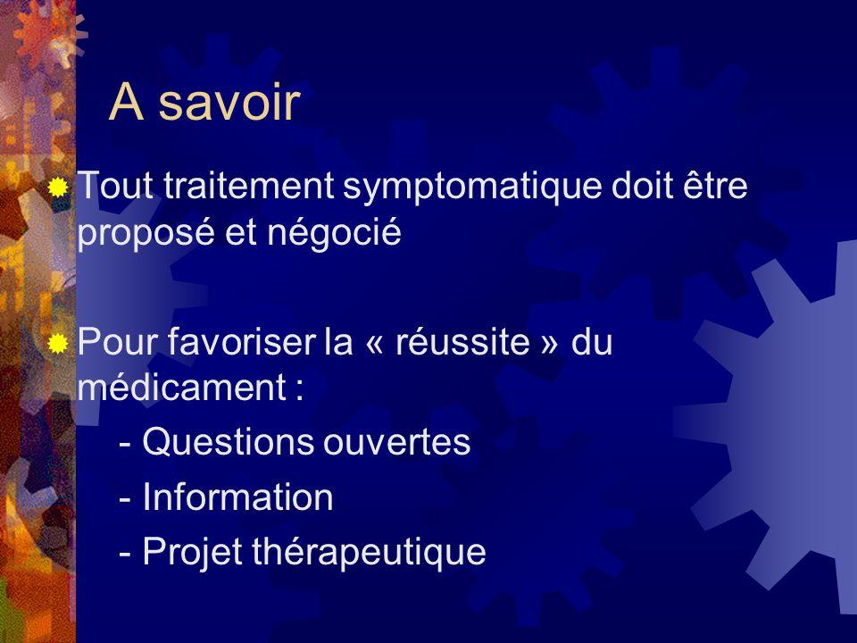 A savoir Tout traitement symptomatique doit être proposé et négocié