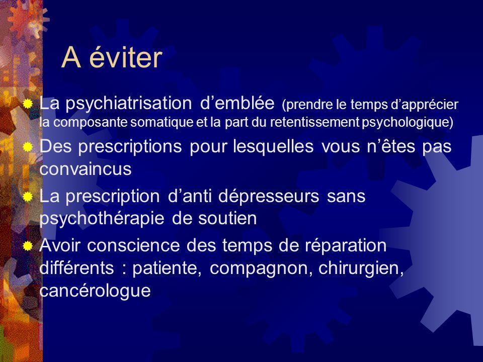 A éviter La psychiatrisation d'emblée (prendre le temps d'apprécier la composante somatique et la part du retentissement psychologique)