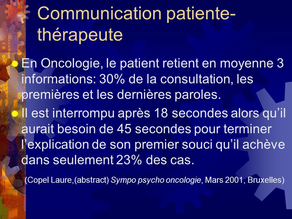 Communication patiente-thérapeute