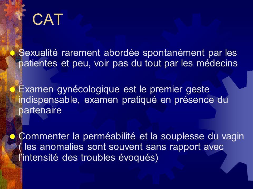 CAT Sexualité rarement abordée spontanément par les patientes et peu, voir pas du tout par les médecins.