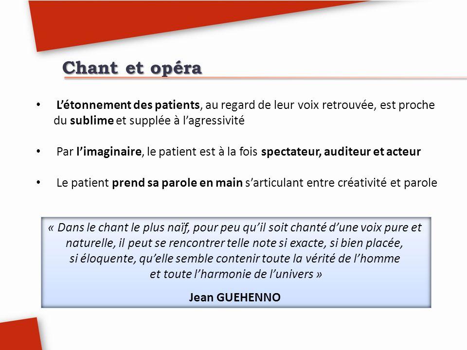 Chant et opéra L'étonnement des patients, au regard de leur voix retrouvée, est proche du sublime et supplée à l'agressivité.