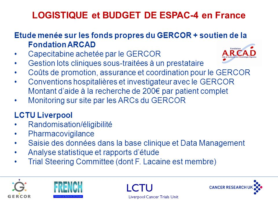 LOGISTIQUE et BUDGET DE ESPAC-4 en France