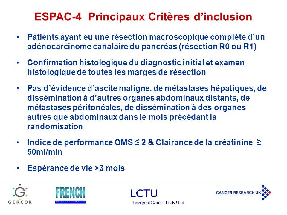 ESPAC-4 Principaux Critères d'inclusion