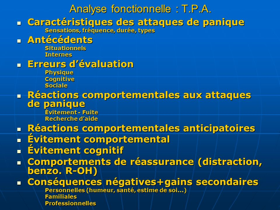 Analyse fonctionnelle : T.P.A.