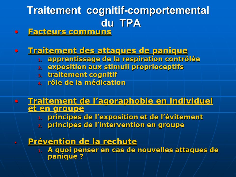Traitement cognitif-comportemental du TPA
