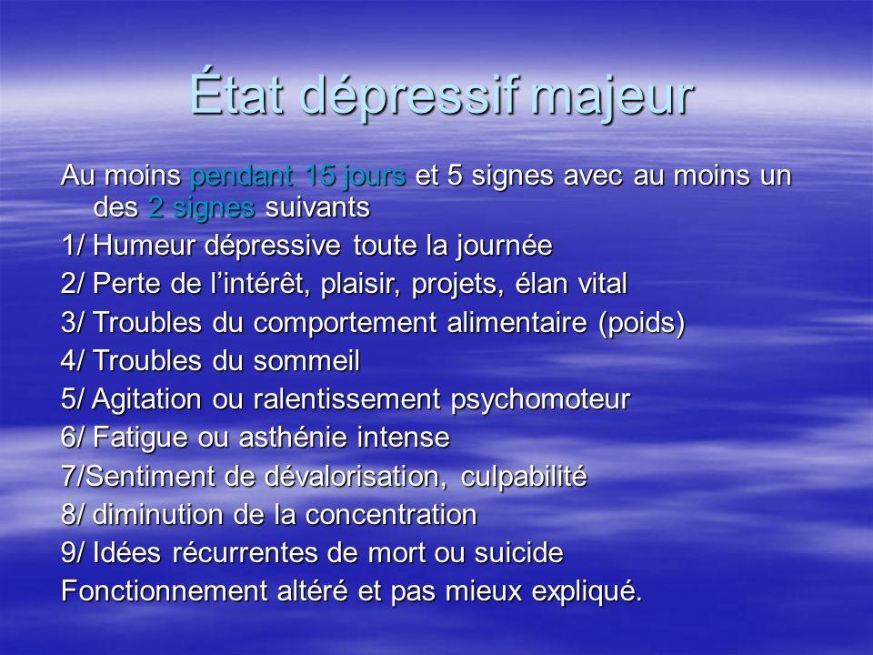 État dépressif majeur Au moins pendant 15 jours et 5 signes avec au moins un des 2 signes suivants.