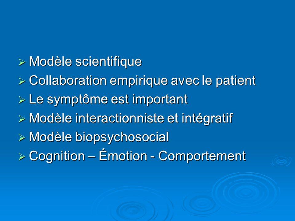 Modèle scientifique Collaboration empirique avec le patient. Le symptôme est important. Modèle interactionniste et intégratif.