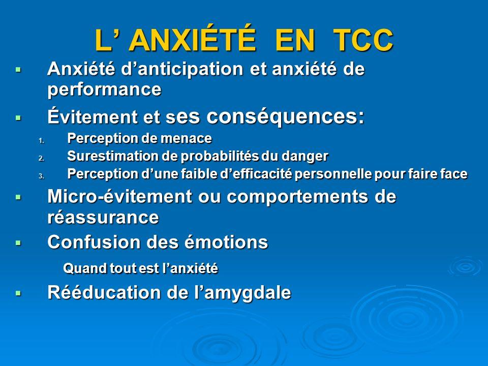 L' ANXIÉTÉ EN TCC Anxiété d'anticipation et anxiété de performance