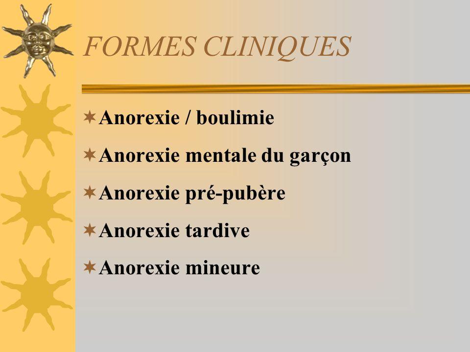FORMES CLINIQUES Anorexie / boulimie Anorexie mentale du garçon