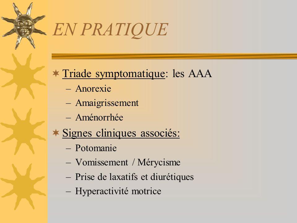 EN PRATIQUE Triade symptomatique: les AAA Signes cliniques associés: