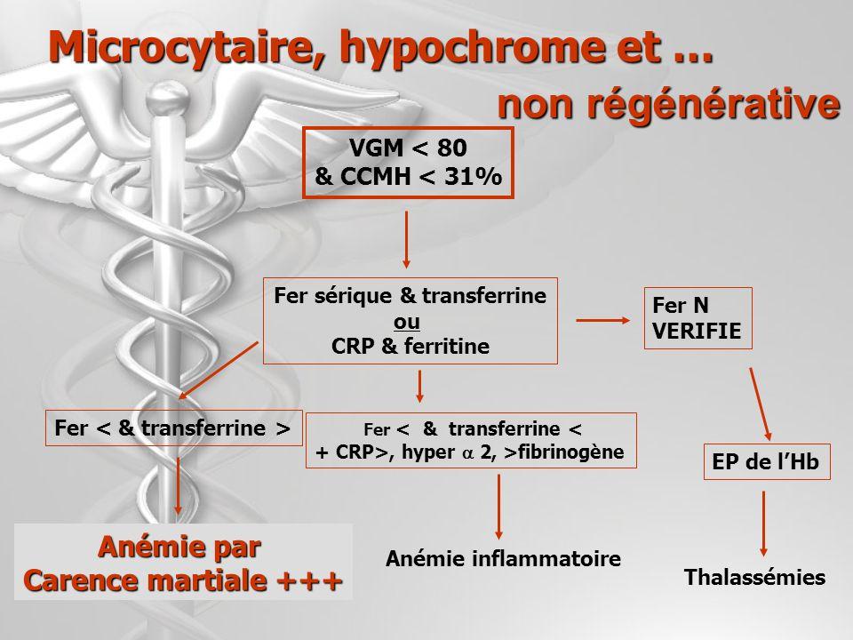 Microcytaire, hypochrome et … Fer sérique & transferrine