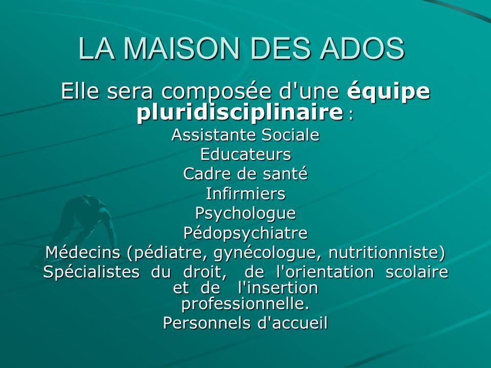 LA MAISON DES ADOS Elle sera composée d une équipe pluridisciplinaire : Assistante Sociale. Educateurs.
