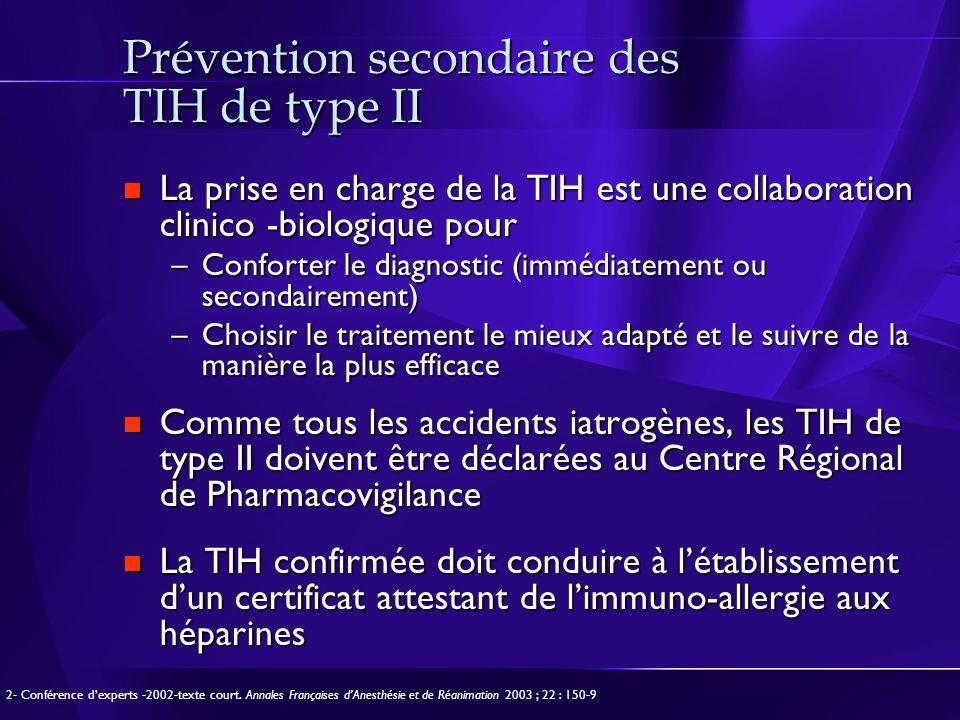Prévention secondaire des TIH de type II