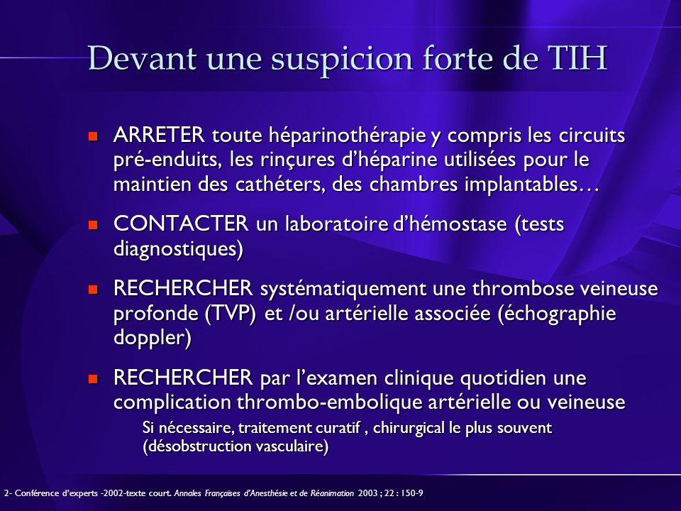 Devant une suspicion forte de TIH