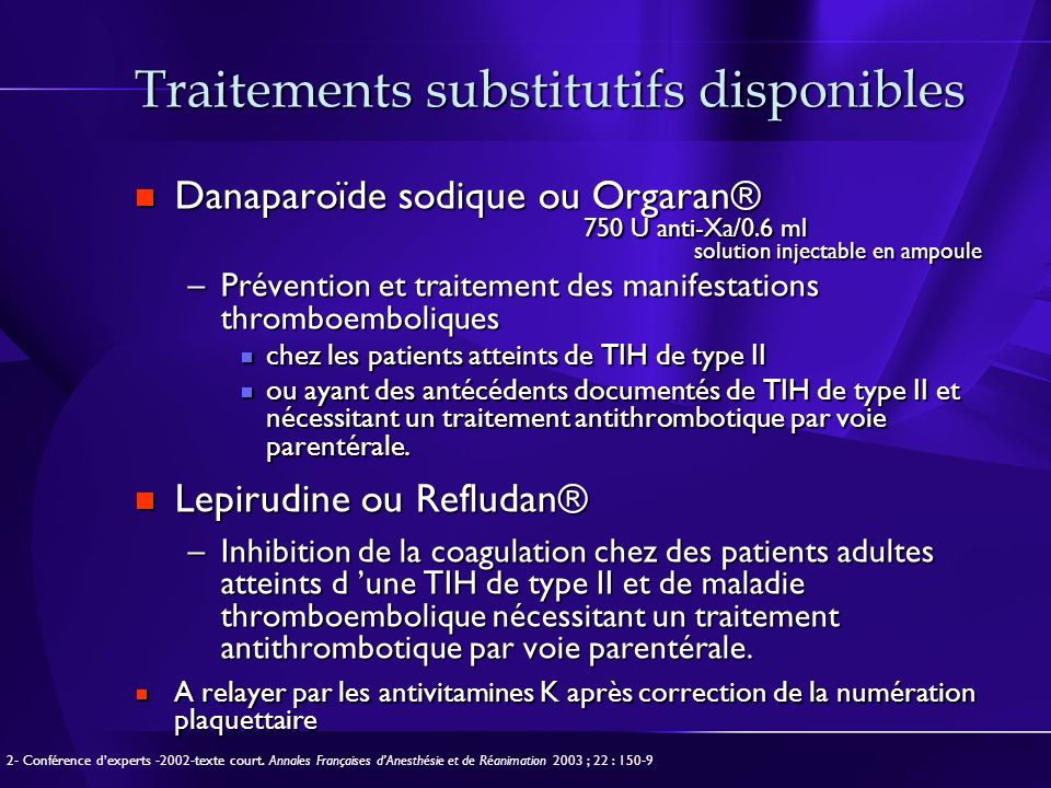 Traitements substitutifs disponibles
