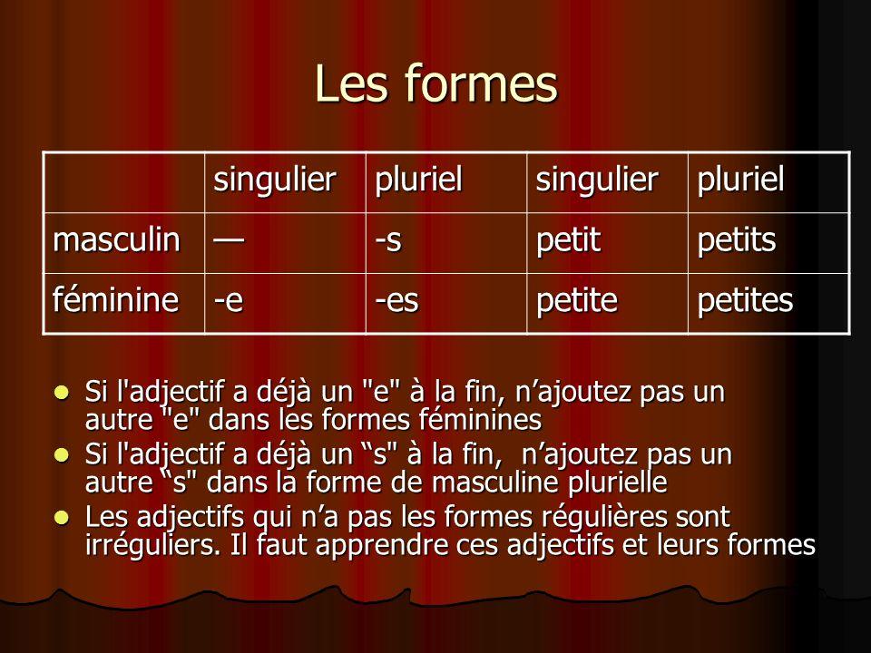 Les formes singulier pluriel masculin — -s petit petits féminine -e