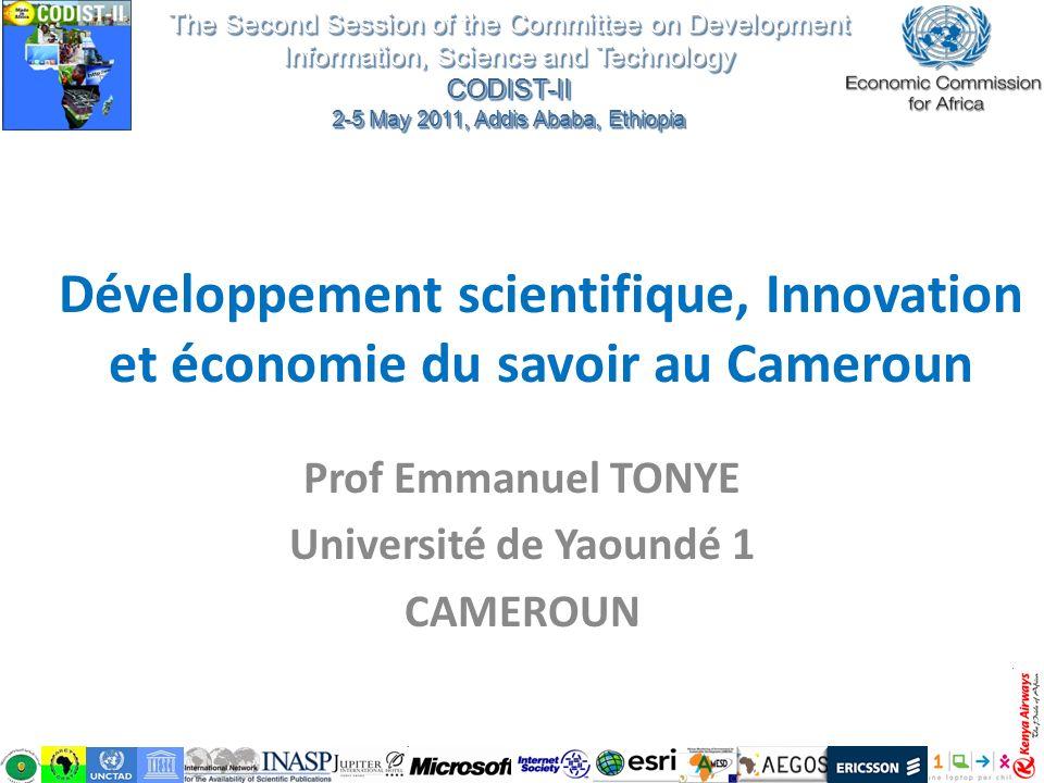 Prof Emmanuel TONYE Université de Yaoundé 1 CAMEROUN