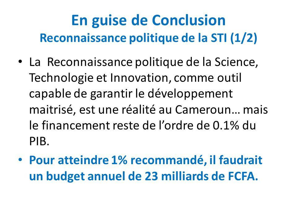 En guise de Conclusion Reconnaissance politique de la STI (1/2)
