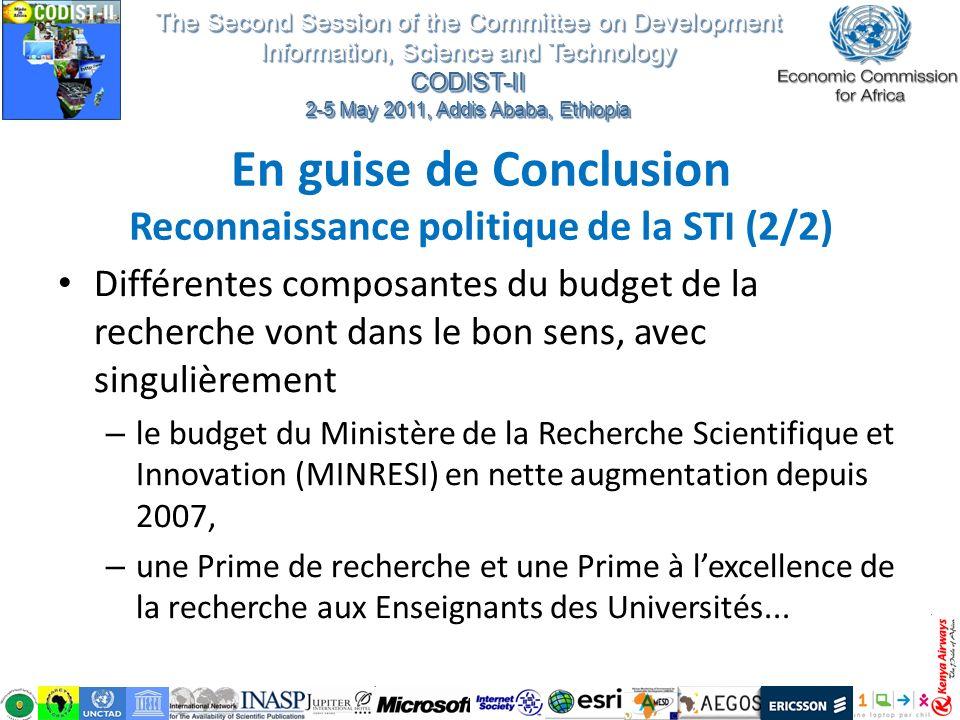 En guise de Conclusion Reconnaissance politique de la STI (2/2)