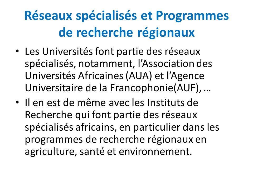 Réseaux spécialisés et Programmes de recherche régionaux