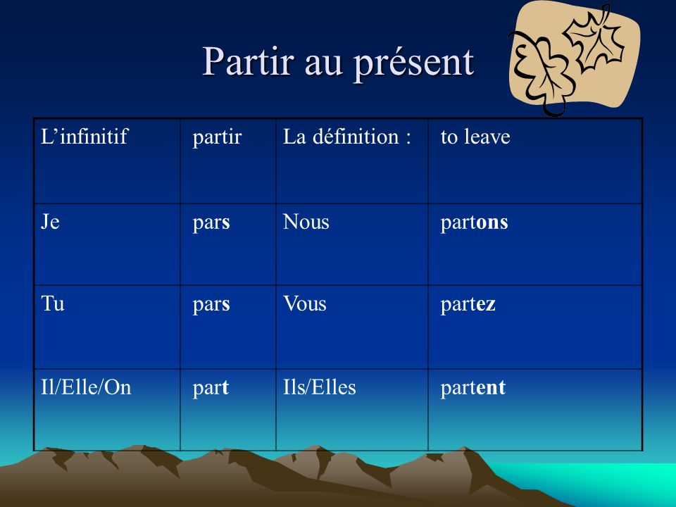 Partir au présent L'infinitif partir La définition : to leave Je pars