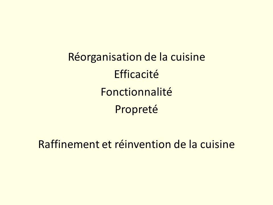 Réorganisation de la cuisine Efficacité Fonctionnalité Propreté Raffinement et réinvention de la cuisine