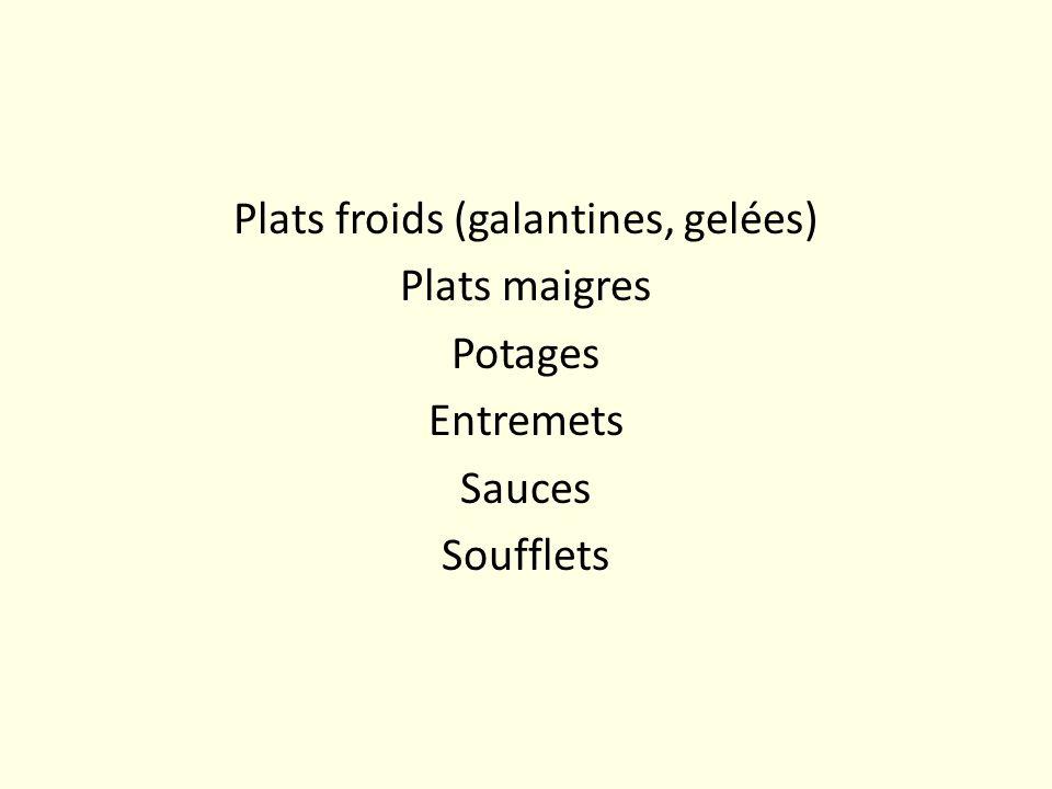 Plats froids (galantines, gelées) Plats maigres Potages Entremets Sauces Soufflets
