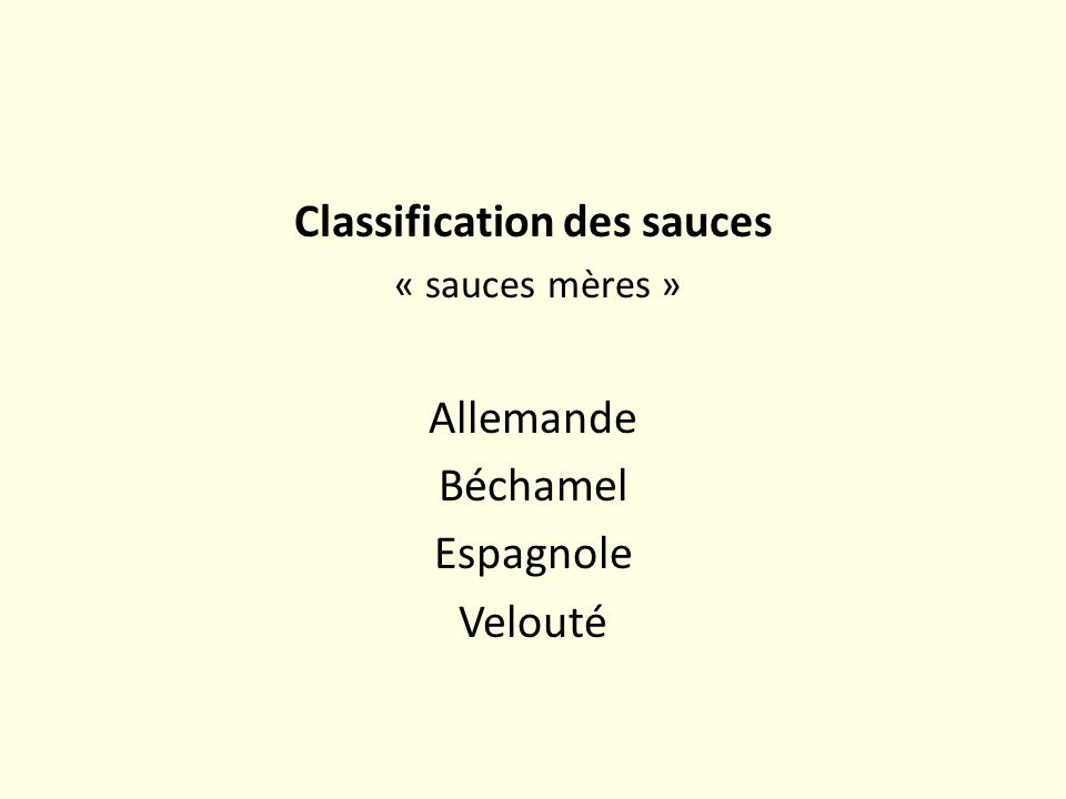 Classification des sauces