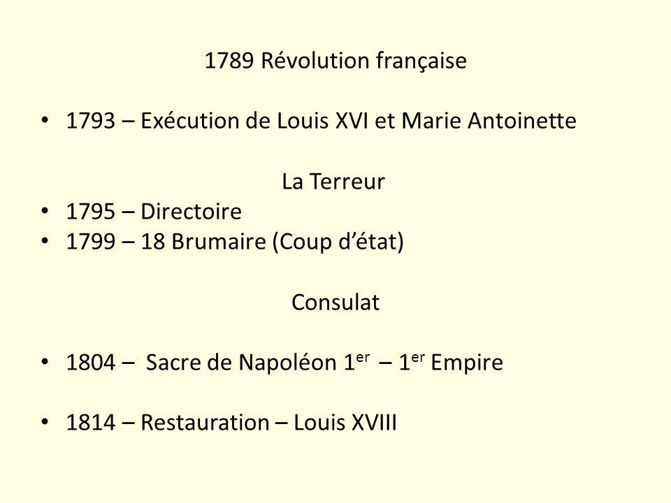 1789 Révolution française1793 – Exécution de Louis XVI et Marie Antoinette. La Terreur 1795 – Directoire.