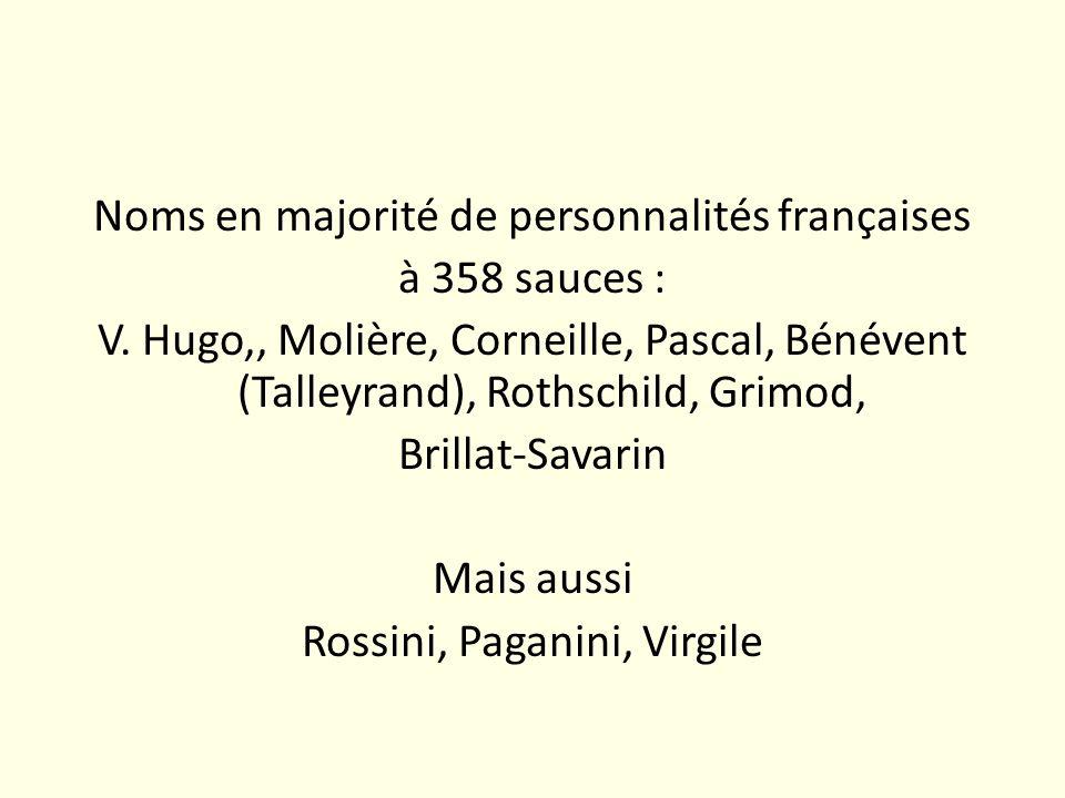 Noms en majorité de personnalités françaises à 358 sauces : V