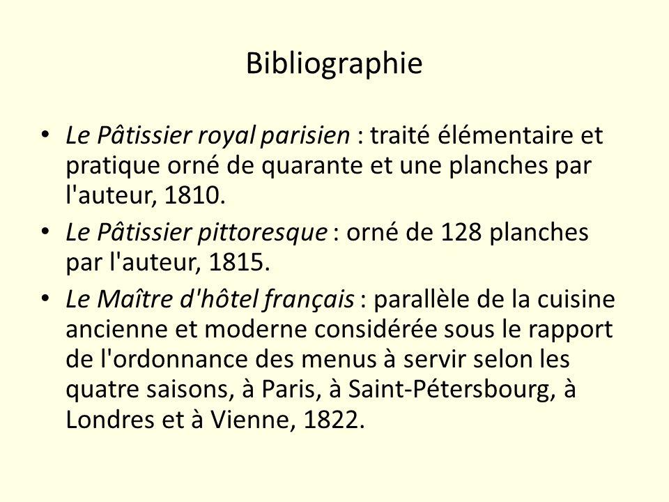 BibliographieLe Pâtissier royal parisien : traité élémentaire et pratique orné de quarante et une planches par l auteur, 1810.