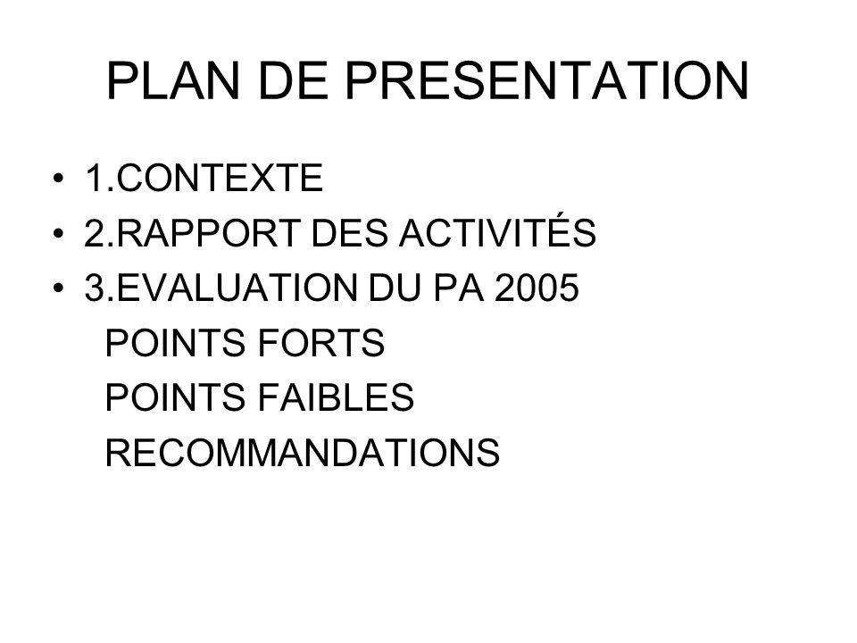 PLAN DE PRESENTATION 1.CONTEXTE 2.RAPPORT DES ACTIVITÉS