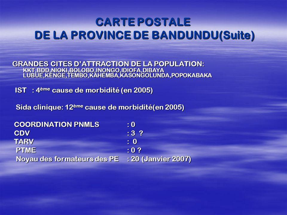 CARTE POSTALE DE LA PROVINCE DE BANDUNDU(Suite)