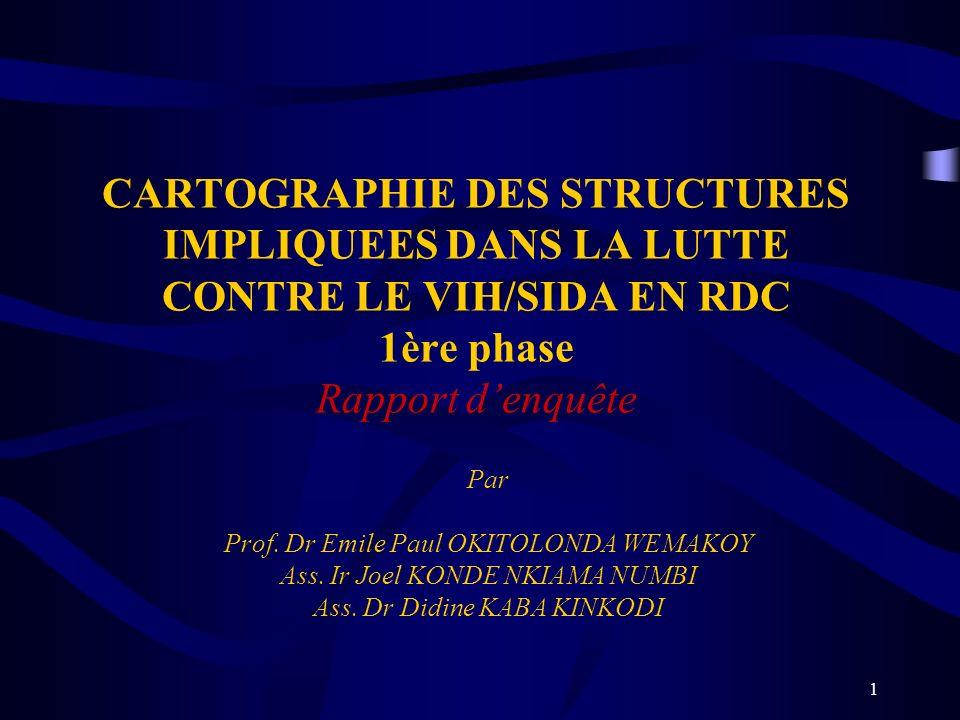 CARTOGRAPHIE DES STRUCTURES IMPLIQUEES DANS LA LUTTE CONTRE LE VIH/SIDA EN RDC 1ère phase Rapport d'enquête