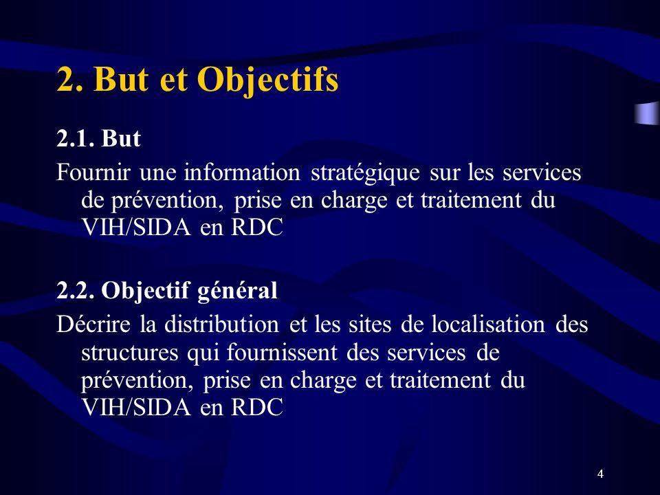 2. But et Objectifs 2.1. But. Fournir une information stratégique sur les services de prévention, prise en charge et traitement du VIH/SIDA en RDC.