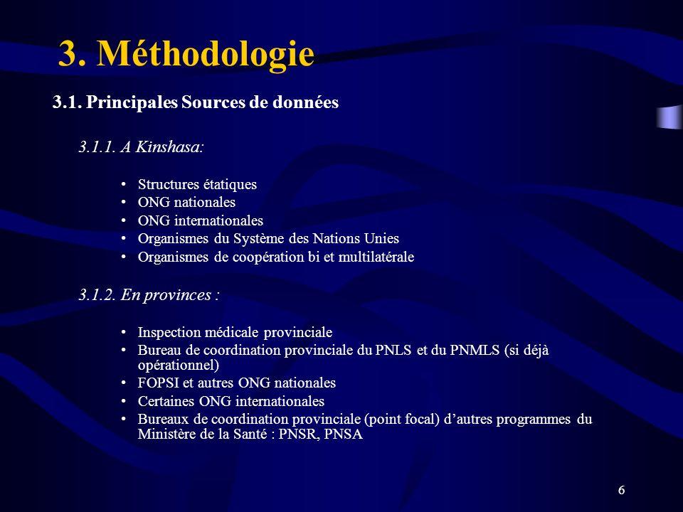 3. Méthodologie 3.1. Principales Sources de données 3.1.1. A Kinshasa: