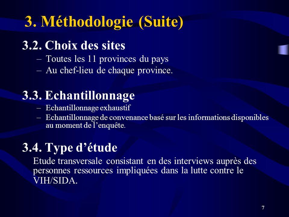 3. Méthodologie (Suite) 3.2. Choix des sites 3.3. Echantillonnage