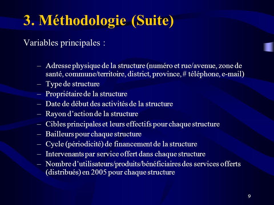 3. Méthodologie (Suite) Variables principales :