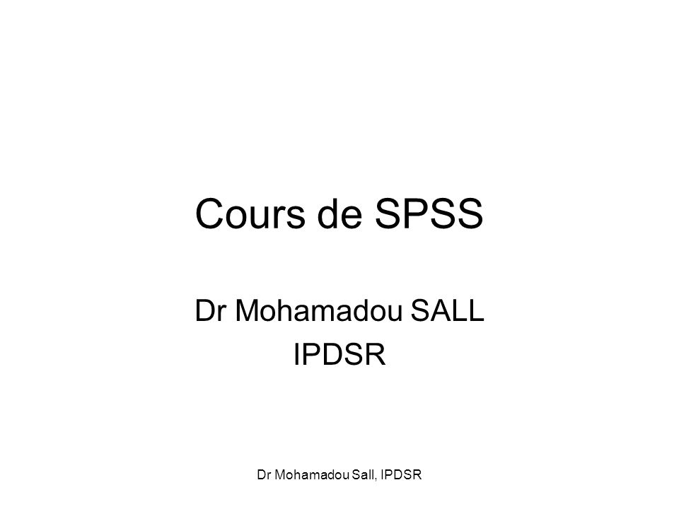 Dr Mohamadou SALL IPDSR