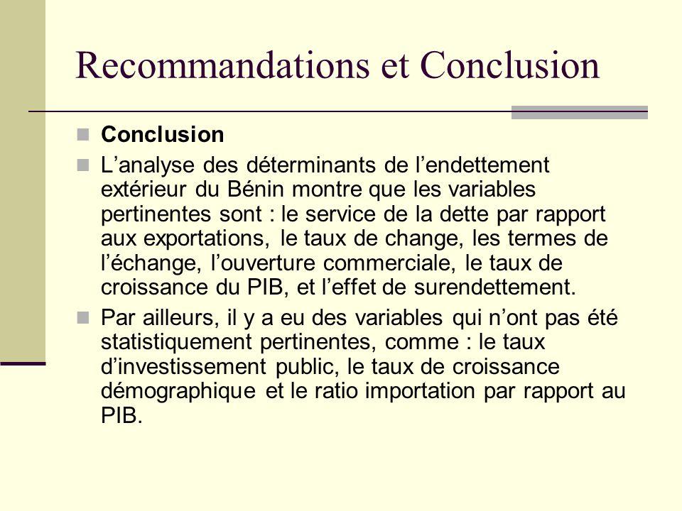 Recommandations et Conclusion