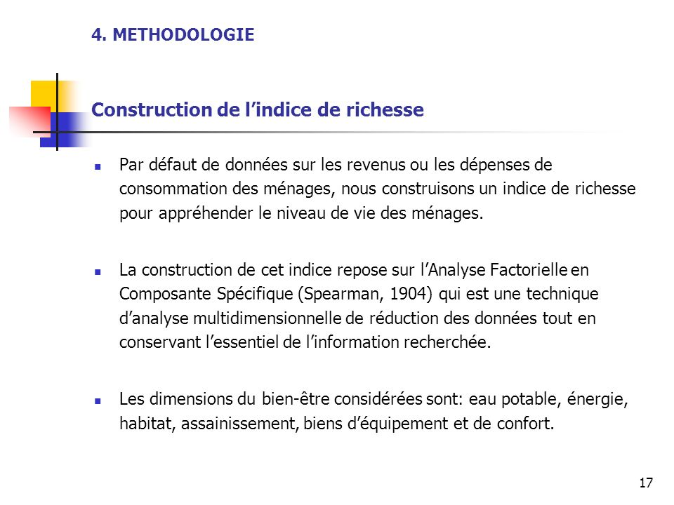 4. METHODOLOGIE Construction de l'indice de richesse