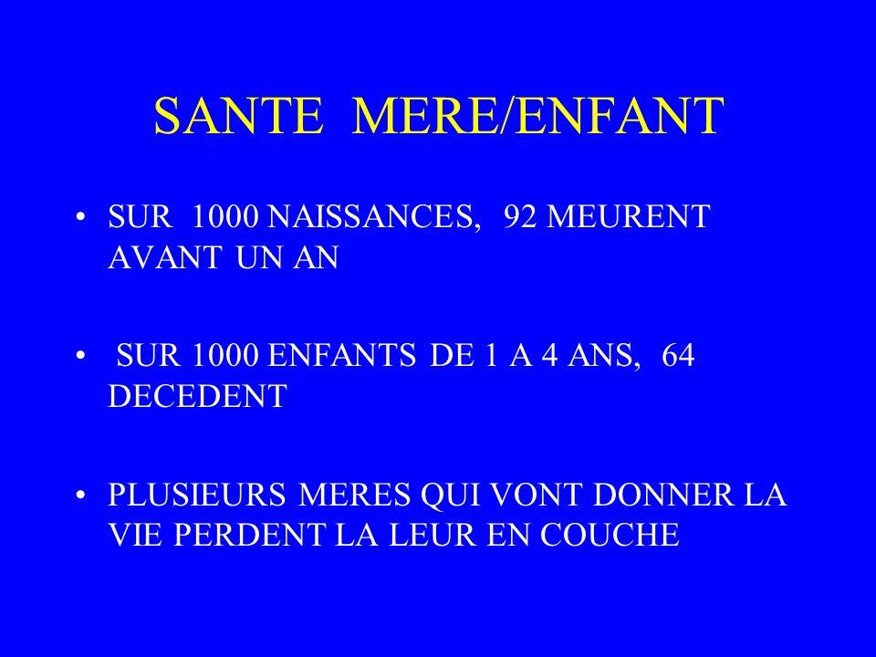 SANTE MERE/ENFANT SUR 1000 NAISSANCES, 92 MEURENT AVANT UN AN