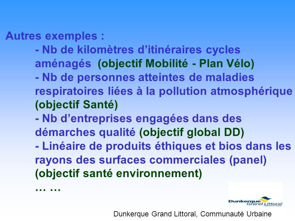 Autres exemples : - Nb de kilomètres d'itinéraires cycles aménagés (objectif Mobilité - Plan Vélo)