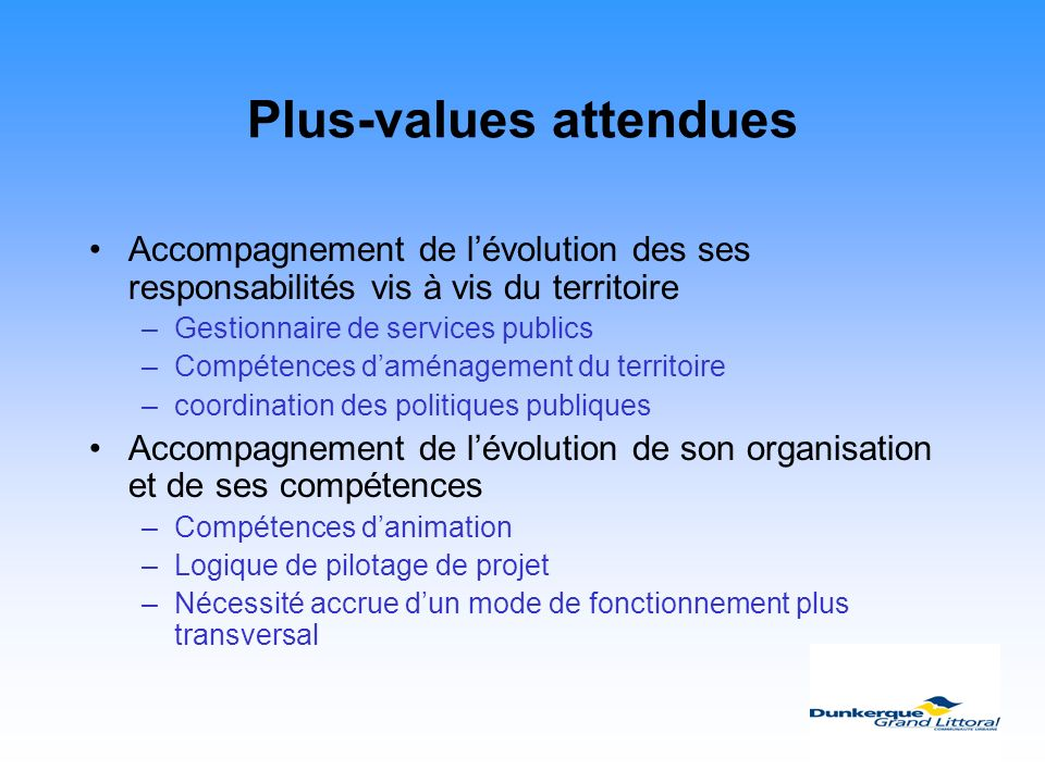 Plus-values attendues